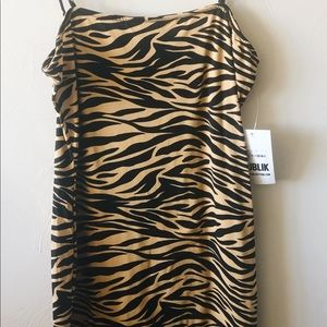 New spaghetti strap tiger dress